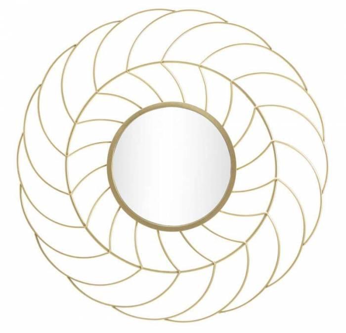 Oglindă de perete Sunflower, 88x88x7 cm, metal/ sticla, auriu