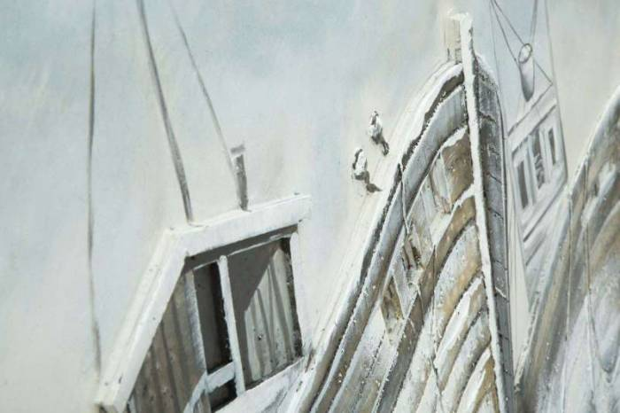 Tablou Barca, 80x120x3.7 cm, lemn de pin/ plastic/ canvas, multicolor