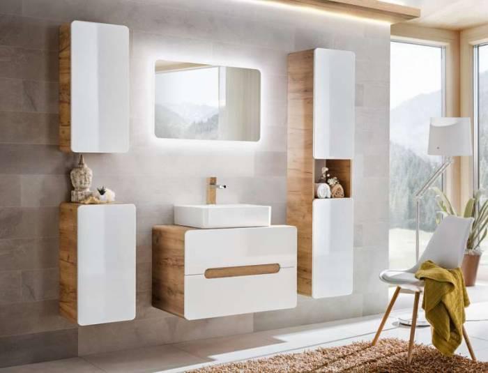 Set de mobilier pentru baie Aruba Universal 60, PAL/MDF, alb/maro