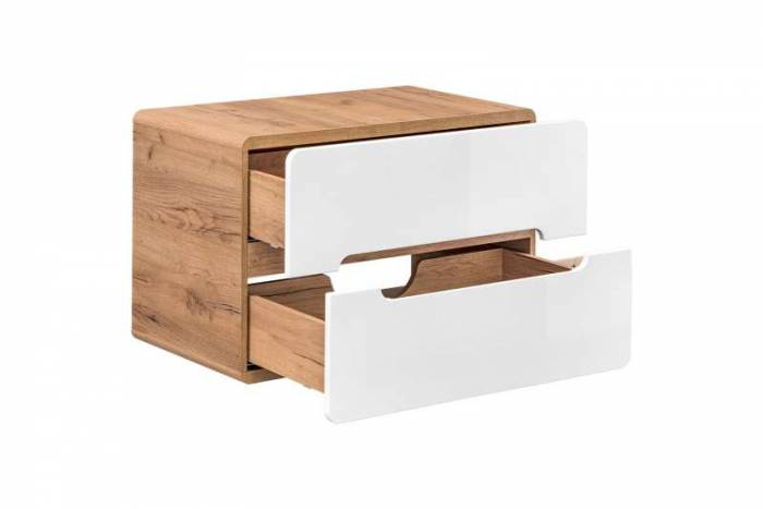 Set de mobilier pentru baie Aruba Universal 80, PAL/MDF, alb/maro