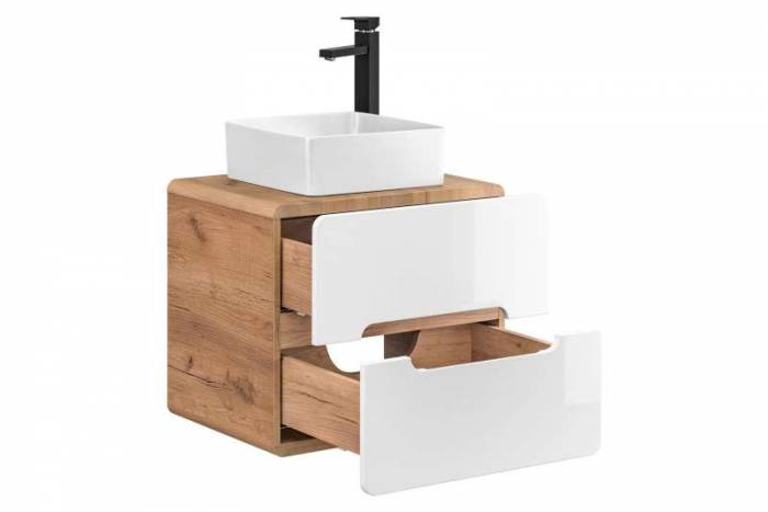 Set de mobilier pentru baie Aruba 3, PAL/MDF, alb/maro