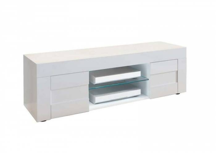 Comodă TV Build, 44x42x138 cm, melamină, alb