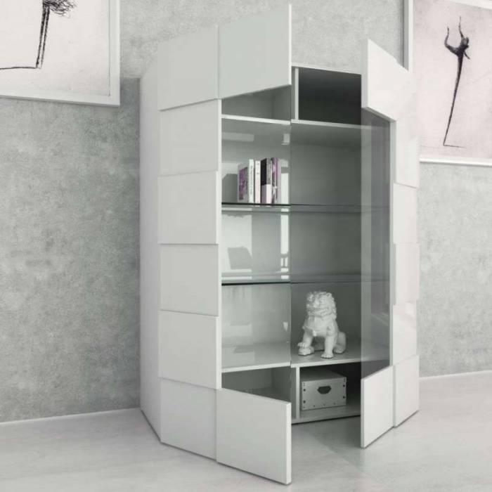 Vitrină Bramon, 166x42x120 cm, melamină, gri