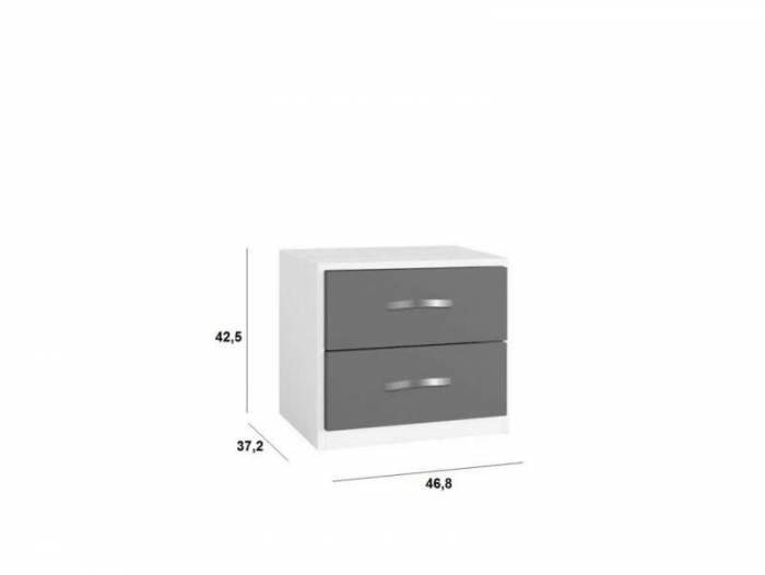 Noptieră cu două sertare Little, 43x37x47 cm, lemn, albastru