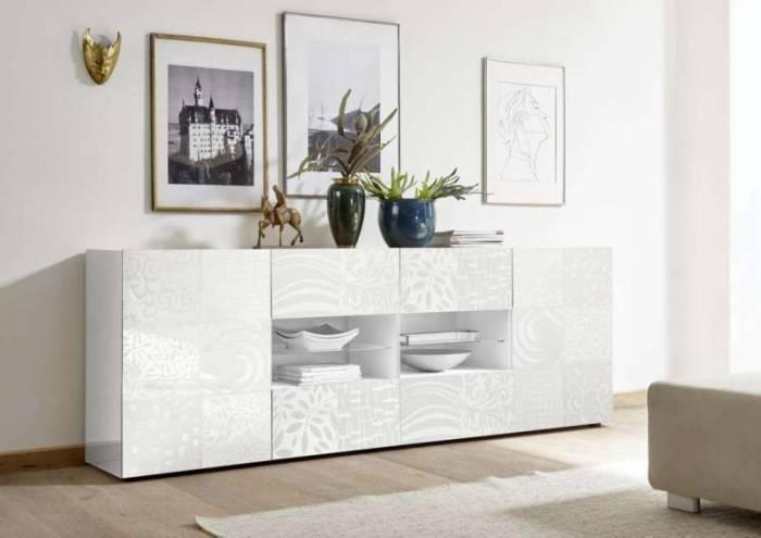 Comodă Brez, 84x42x240 cm, melamină, alb