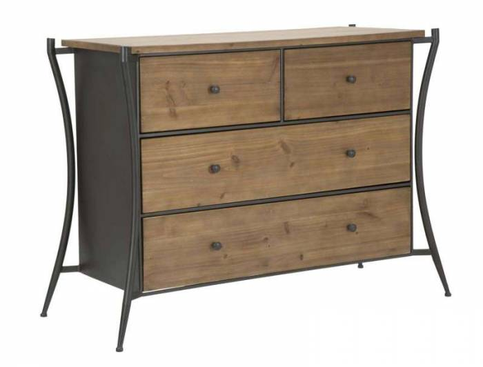 Comodă Glasgow, 85x49x122 cm, lemn de brad/ metal, maro/ negru/ gri