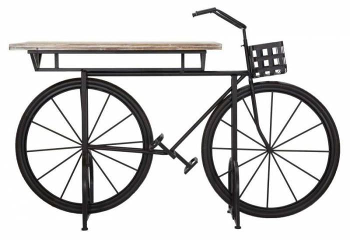 Consolă Bike, 101,5x161x59,5 cm, lemn de brad/ metal, negru/ maro
