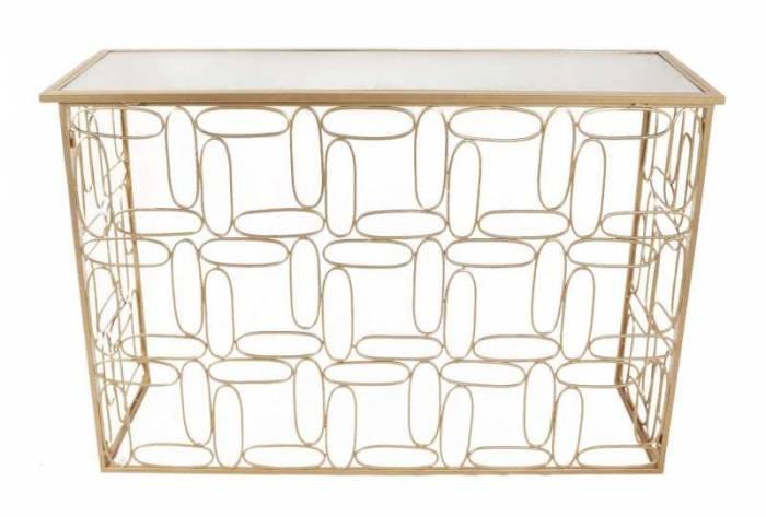 Consolă Bubbles, 81x120x40 cm, metal/ sticla, auriu/ argintiu