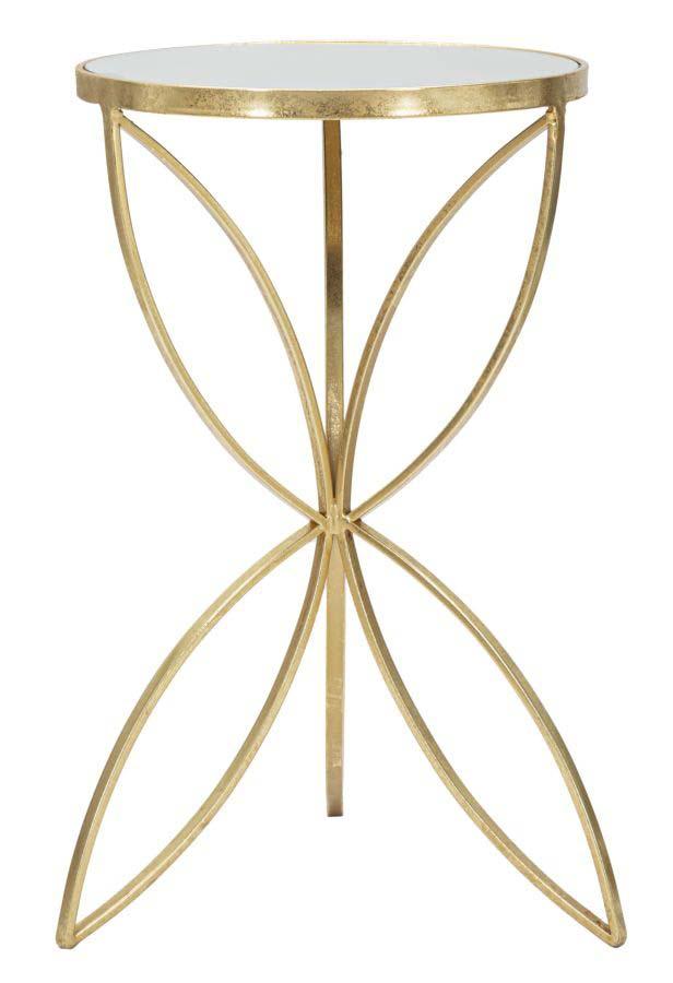 Consolă Butterfly, 60x35x35 cm, metal/ sticla, auriu/ argintiu