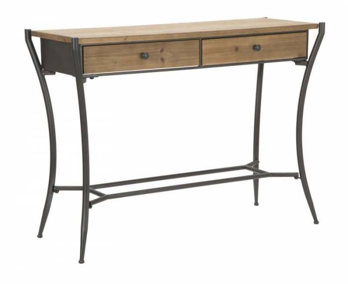 Consolă Glasgow, 80x110x40 cm, lemn de brad/ metal, maro/ negru/ gri