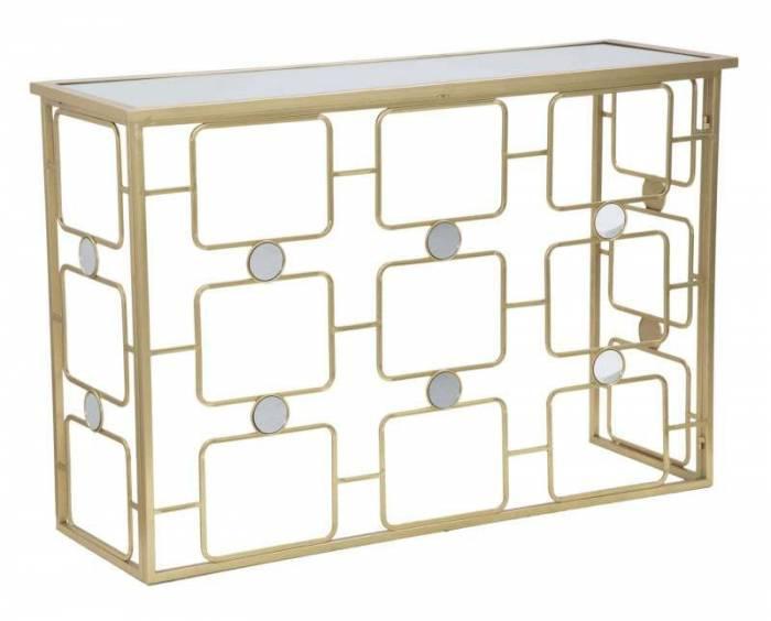 Consolă Glosh, 80x120x40 cm, metal/ sticla, auriu