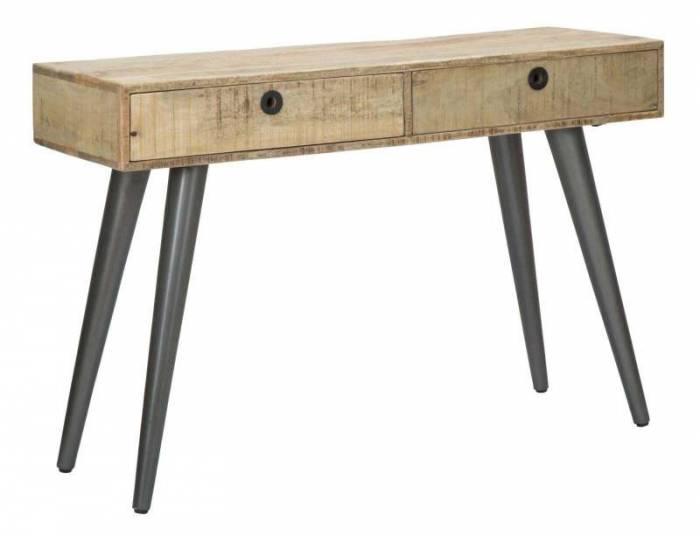 Consolă în stil scandinav Belgrado, 76x115x40 cm, lemn de mango/ mdf/ metal, maro/ negru