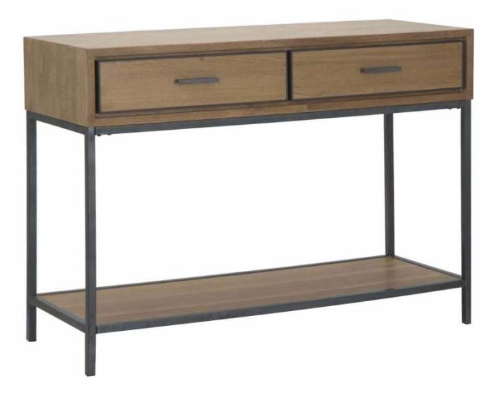 Consolă Male, 80x110x40 cm, lemn de brad/ furnir/ mdf/ metal, maro/ gri
