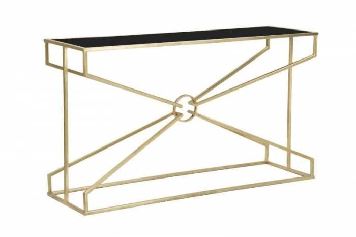 Consolă Maxim, 75x130x40 cm, metal/mdf/ sticla, negru/ auriu