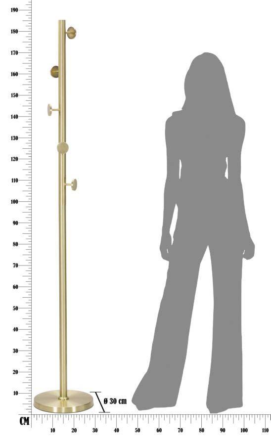 Cuier Glamy, 190x30x30 cm, metal, auriu
