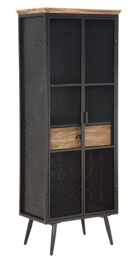 Vitrină School Grid, 164x63x38,5 cm, metal/ lemn de brad, negru/ maro