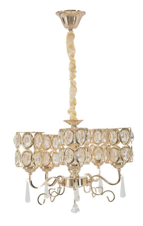 Lustră Glam Crystal, 72x40x40 cm, metal/ sticla, auriu