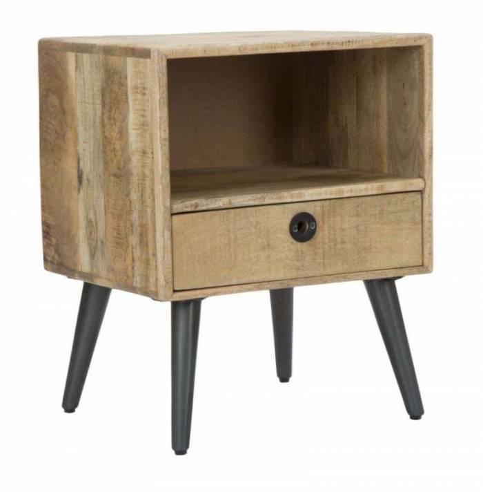Noptieră în stil scandinav Belgrado, 56x45x40 cm, lemn de mango/ mdf/ metal, maro/ negru