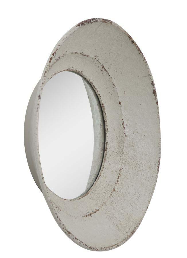 Oglindă Atente, 46x46x9 cm, metal/ sticla, alb