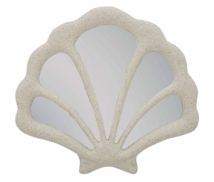 Oglindă de perete Conchiglia, 37,3x40,5x2,3 cm, rasina/ sticla, bej