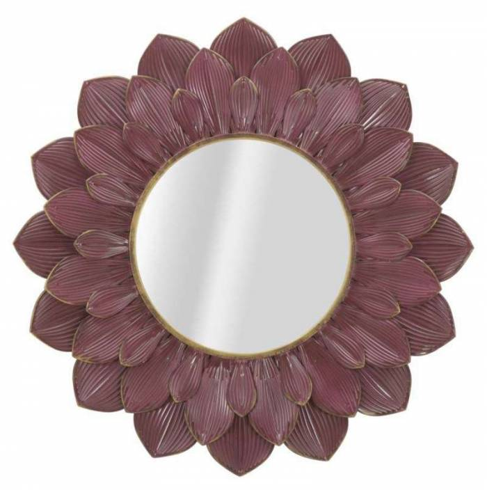 Oglindă de perete Glam, 100x100x4.5 cm, metal/ sticla, bordo