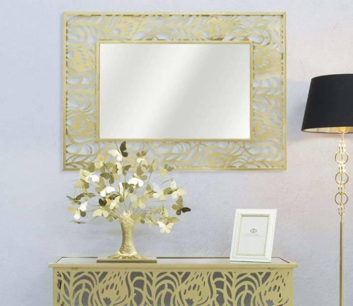 Oglindă de perete Glam, 106,5x76,5x2 cm, metal/ mdf/ sticla, auriu
