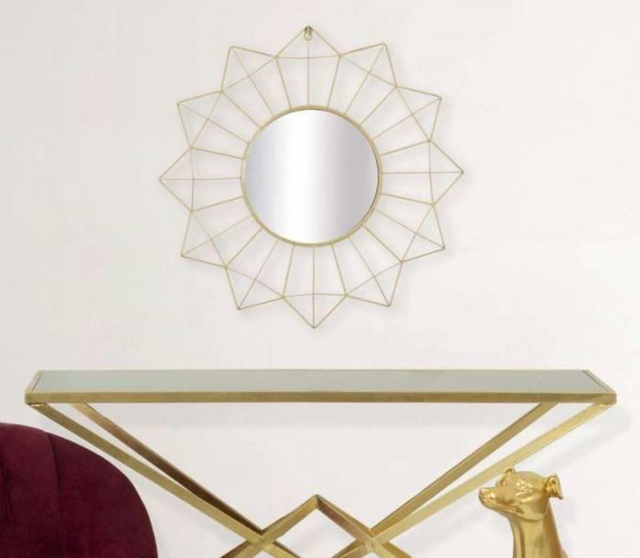 Oglindă de perete Glam, 60x60x4 cm, metal/ sticla, auriu