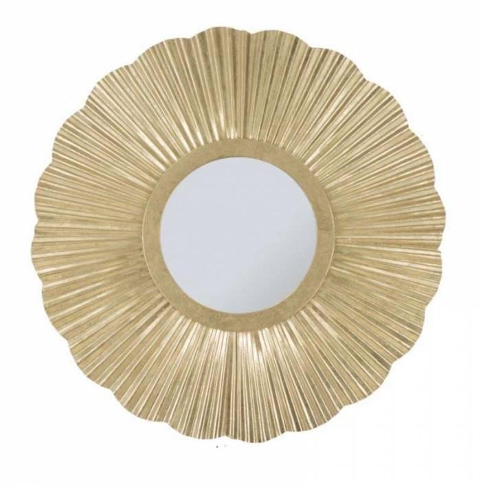 Oglindă de perete Glam, 80x80x3 cm, metal/ sticla, auriu