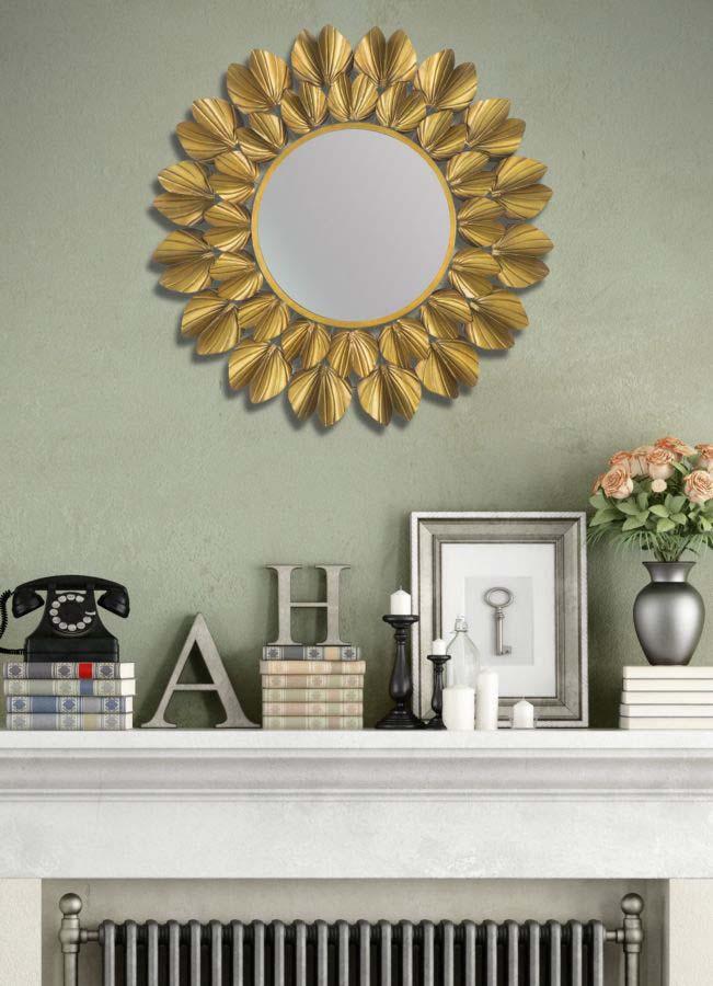 Oglindă de perete Goldy, 78,5x78,5x5 cm, metal/ sticla, auriu