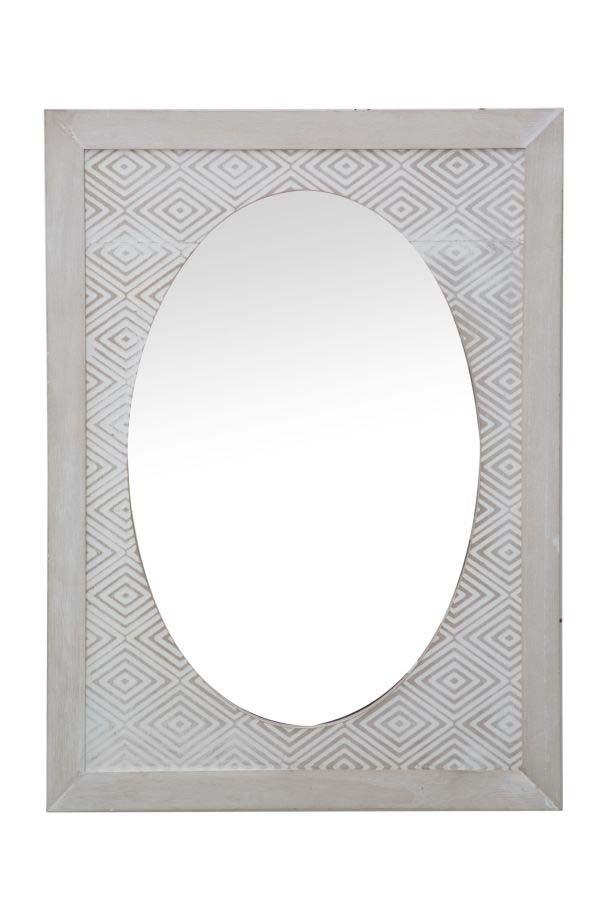Oglindă de perete Hypnos, 65x48x2 cm, mdf/ sticla, alb/ gri