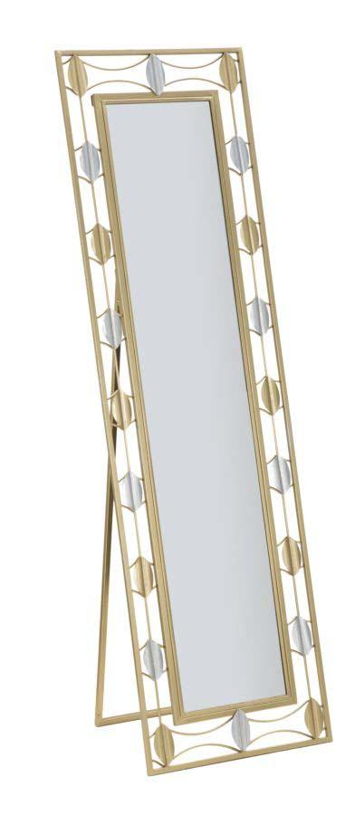Oglindă de podea Leaf Glam, 170x50x3 cm, metal/ sticla, auriu