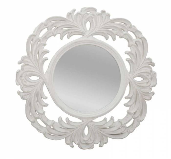 Oglindă Luxembourg, 100x100x4.5 cm, rasina/ sticla, alb