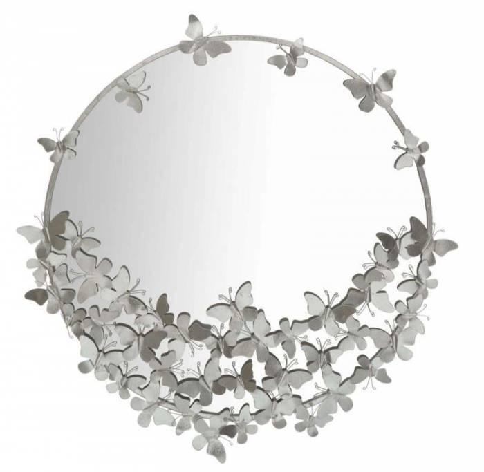 Oglindă de perete Butterfly, 94x91x3 cm, metal/ sticla, argintiu