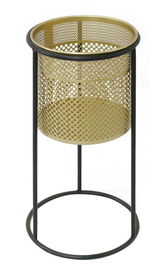 Suport flori Simply, 50x25x25 cm, metal, auriu/ negru