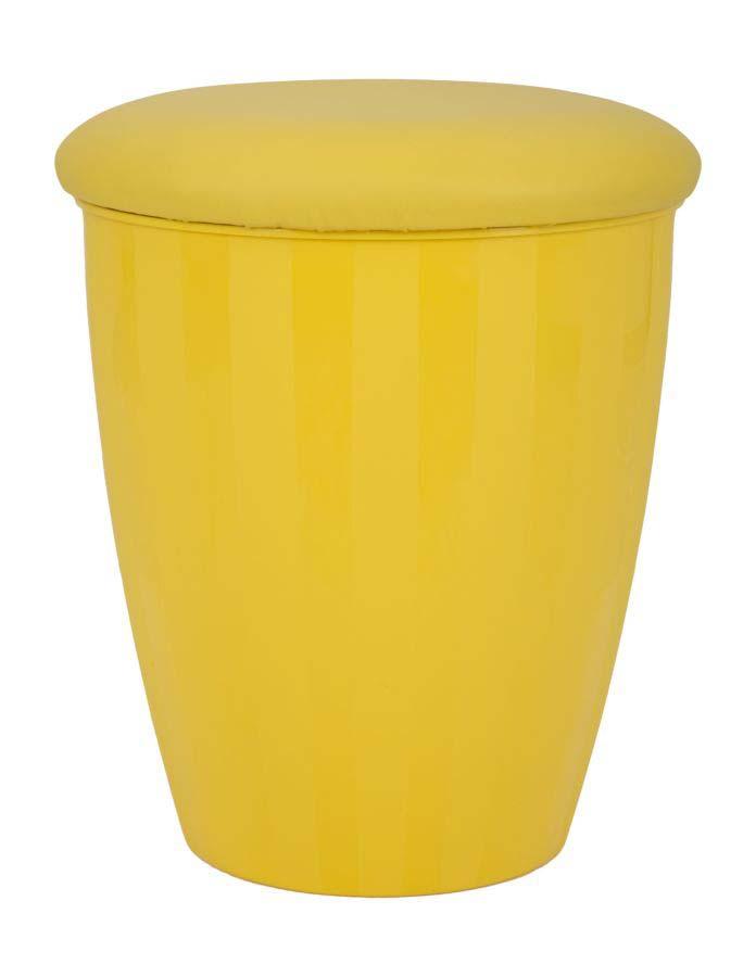 Taburet cu depozitare Easy, 45x38x38 cm, pu/ abs, galben
