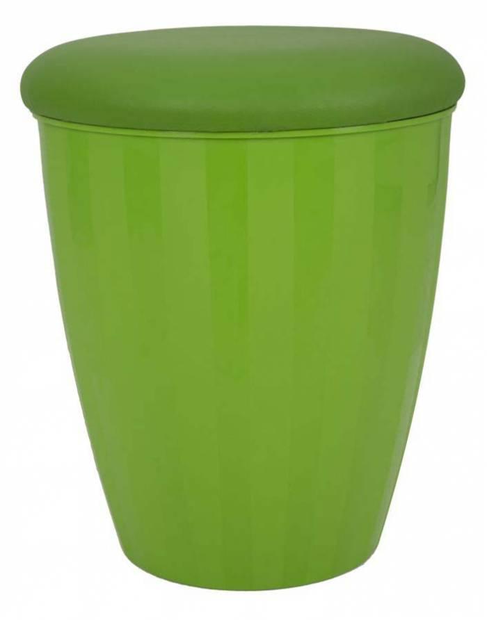 Taburet cu depozitare Easy, 45x38x38 cm, pu/ abs, verde