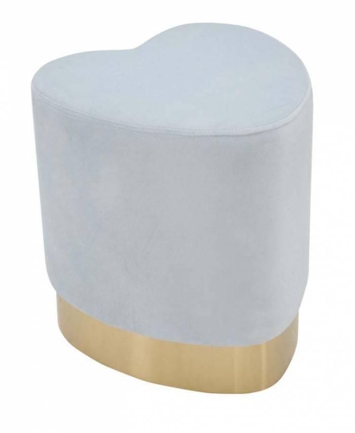 Taburet tapițat în formă de inima, 42x38x38 cm, lemn de pin/ placaj/ metal/ poliester, albastru/ auriu