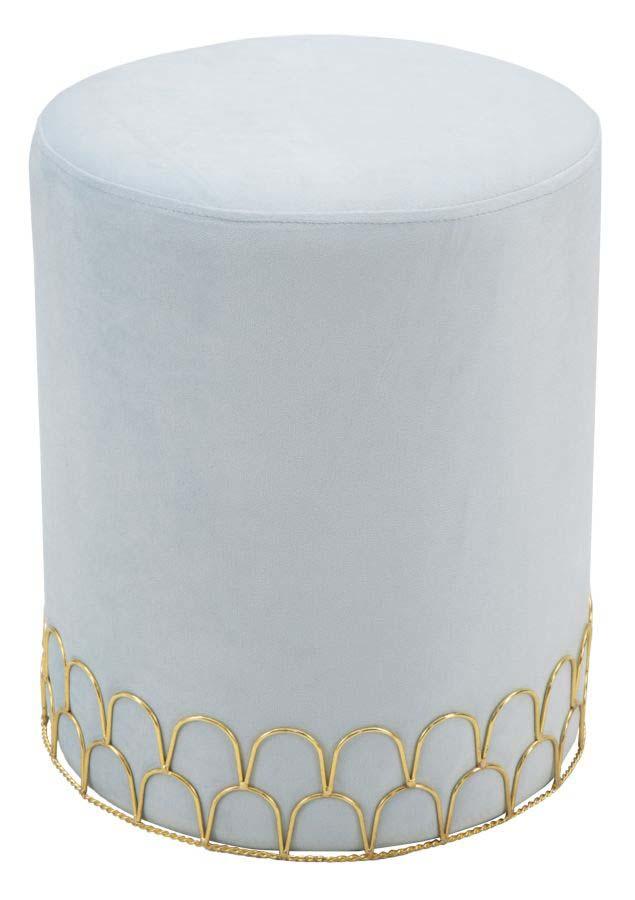Taburet tapițat Ring, 42x35x35 cm, lemn de pin/ placaj/ metal/ poliester, albastru/ auriu