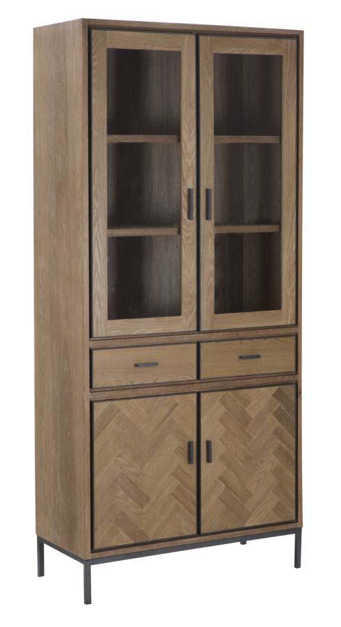 Vitrină Male, 200x89x40 cm, lemn de brad/ furnir/ mdf/ metal, maro/ gri