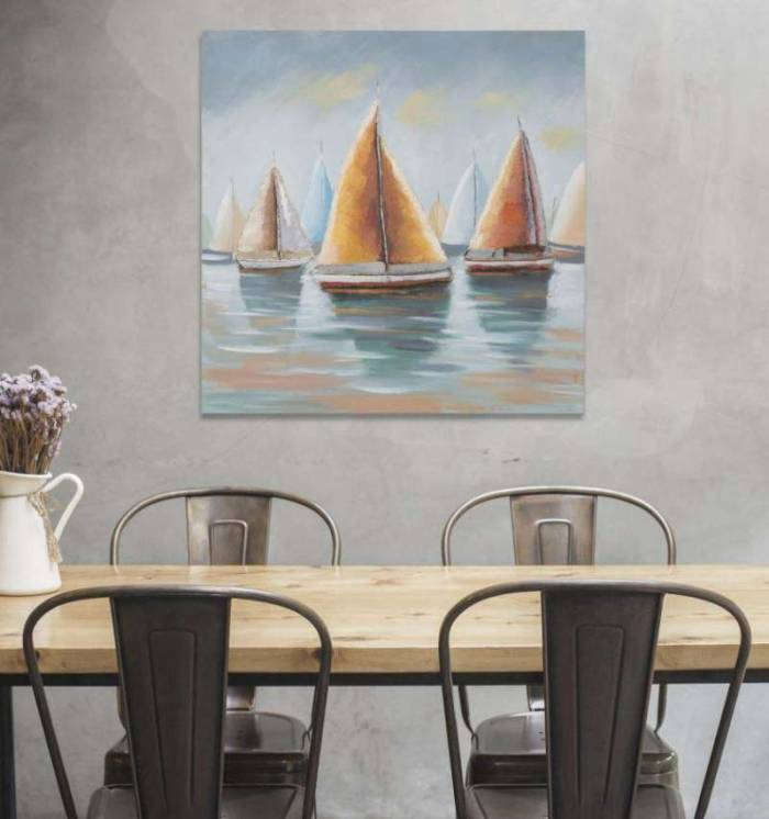 Tablou Sidney 2, 80x80x4 cm, lemn de pin/ canvas, multicolor