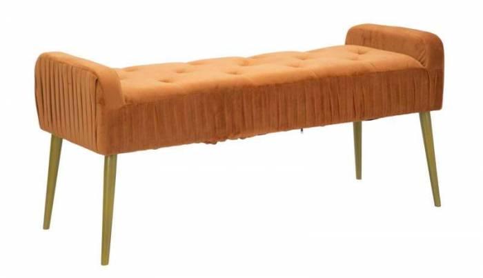Bancheta Glam, 55x120x45 cm, lemn de pin/ placaj/ metal/ poliester, auriu