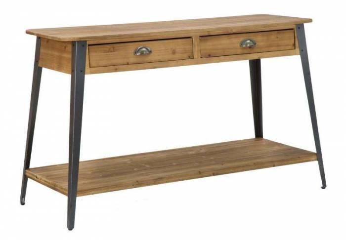 Consolă Boston, 75x125x40 cm, metal/ lemn de brad, maro/ negru