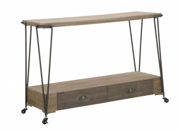 Consolă mobilă Cologne, 80x120x42 cm, mdf/ metal, negru/ maro