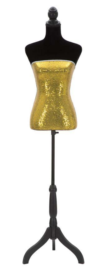Cuier Paillettes, 165x37x23 cm, lemn de pin/ mdf/ textil, negru/ auriu