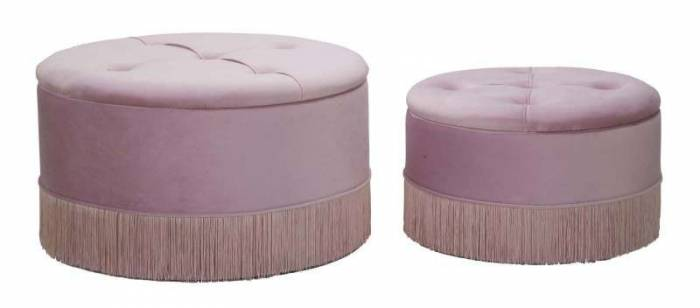 Set 2 taburete cu spațiu depozitare Lines, lemn de pin/ placaj/ poliester, roz